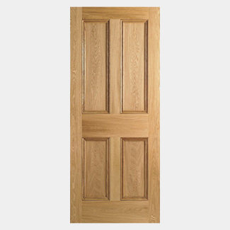 LPD 4 Panel Unfinished Internal Oak Fire Door 1981 x 44mm - Various Width Available