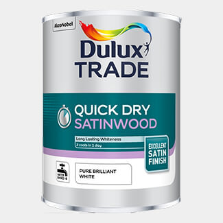 Dulux Trade Quick Dry Satinwood Paint Pure Brilliant White 2.5 Litre