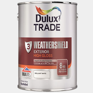 Dulux Trade Weathershield Exterior High Gloss Paint 5L Brilliant White