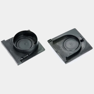 Clark Drain Channel Outlet And Plain End Cap Black Plastic