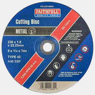 Faithfull 230mm x 1.8mm Metal Cutting Disc Depressed Centre