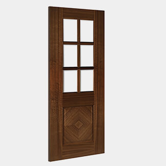 Deanta Kensington 1981mm-Height x 35mm-Thick Prefinished Walnut Bevel Glazed Interior Door - Various Width Available