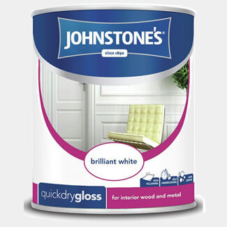 Johnstones Quick Dry Gloss Brilliant White Paint - Litres Available