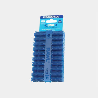 Rawlplug RAW68595 Blue UNO Plugs 8 x 32mm -Card 80