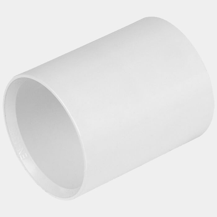 Buildworld 40mm Solvent Weld Straight Coupler - Available in White or Black