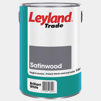 Leyland Trade Satinwood Paint Brilliant White - More Container Size Available