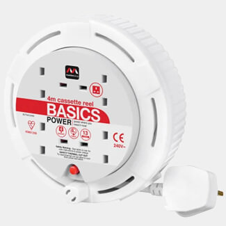 Masterplug White Cassette Cable Reel 240V 13A 4 Socket Thermal Cut Out - 4m