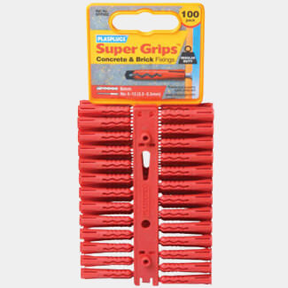 Plasplugs Solid Wall Super Grips Fixings Red - Various Pack Available