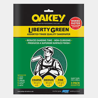 Oakey Liberty Green Aluminium Oxide 230 x 280mm Sheets Assorted