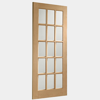 XL Joinery SA77 Internal Oak Door with Clear Bevelled Glass - Various Width Available