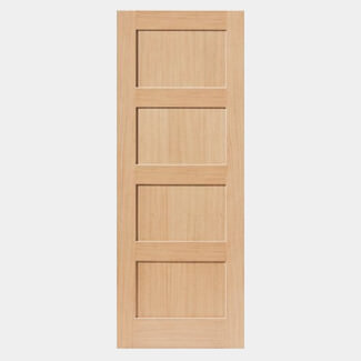 JB Kind Snowdon Shaker Style Oak With Four Recessed Panel Fire Doors - Various Size Available