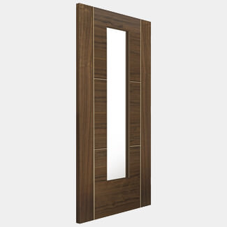 JB Kind Internal Walnut Fully Finished Mistral 3P 1L Clear Glass Flush Door - Various Sizes Available