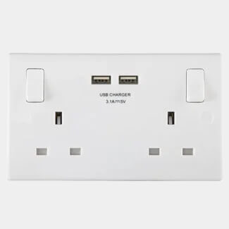 Masterplug Switched Socket 2-Gang 13A With 2 x USB Ports