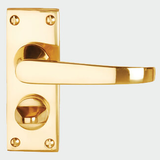 Dale Victorian Polished Brass Flat Lever On Backplate Privacy Furniture Pack Of 2