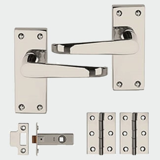 Dale Polished Chrome Plated Victorian Internal Door Pack - Variation Available