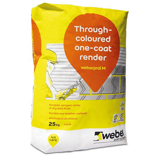 Weber Through Coloured One Coat Render 25kg - Various Finishes Available