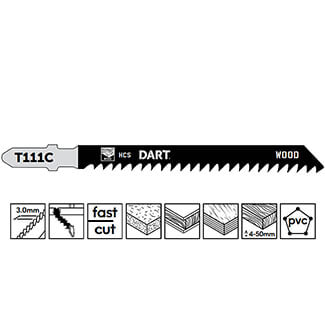 Dart Precision Wood Cutting Jigsaw Blade Pk 5 - Various Size Available