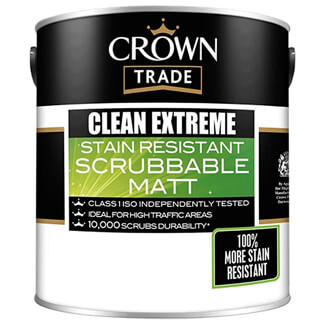 Crown Clean Extreme Stain Resistant Scrubbable Matt Paint - Various Colours And Litres Available
