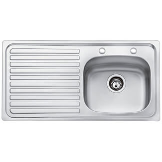 Bristan Inox 2 Tap Hole 1.0 Kitchen Sink - Variations Available