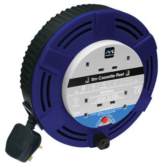 Masterplug Blue Cassette Cable Reel 240V 4 Socket Thermal Cut - Out - More Variation Available