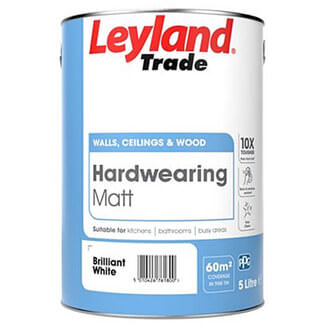 Leyland Trade Hard Wearing Matt Paint Brilliant White - More Sizes Available
