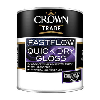 Crown Trade Fastflow Quick Dry Gloss Paint - Various Colours And Litres Available