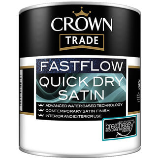 Crown Trade Fastflow Quick Dry Satin Paint White  - Various Litres Available