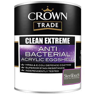 Crown Trade Paint Clean Extreme Anti Bacterial Acrylic Eggshell White 5L