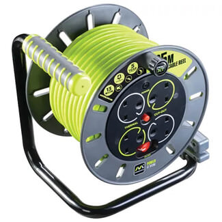 Masterplug Pro-XT Open Cable Reel 240V 13A 4 Socket - 25m