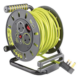 Masterplug Pro-XT Open Cable Reel 240V 13A 2 Socket And 2 USB 2.1A Shared - 25m