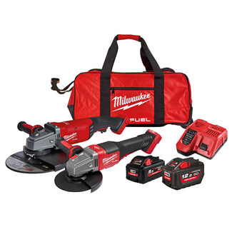 Milwaukee M18 FPP2B2 Fuel Grinder Twin Pack 18V 1 x 8.0Ah And 1 x 12.0Ah Li-ion