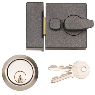 Dale Standard Deadlocking Night Latch Grey With Brass Cylinder - Various Sizes Available