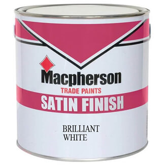 Macpherson Satin Finish Paint Brilliant White - Various Pack Size Available