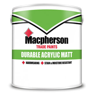 Macphersons Durable Acrylic Matt Paint - Various Colours And Pack Size Available