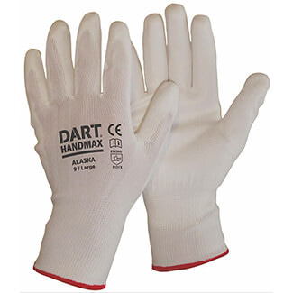 Dart Handmax White PU Glove - Various Sizes Available