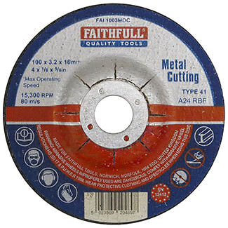 Faithfull Metal Cutting Disc Depressed Centre - Various Size Available