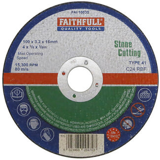 Faithfull Stone Cutting Disc - Various Size Available