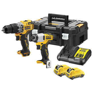 Dewalt XR Brushless Sub Compact 12V Twin Pack And 2x Li-ion Batteries
