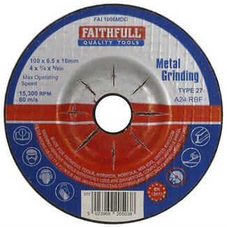 Faithfull 100mm Metal Grinding Disc Depressed Centre