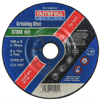 Faithfull 100mm Stone Grinding Disc Depressed Centre