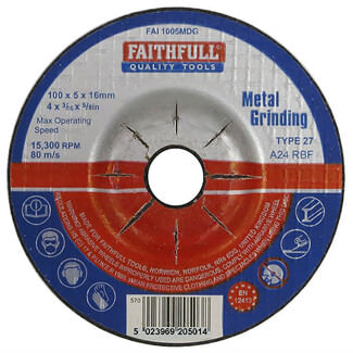 Faithfull 115mm Metal Grinding Disc Depressed Centre