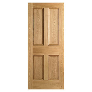 LPD 4 Panel Unfinished Oak Internal Fire Door 1981 x 44mm - Various Width Available