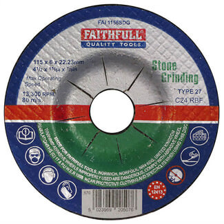 Faithfull 115mm Stone Grinding Disc Depressed Centre