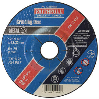 Faithfull 125mm Metal Grinding Disc Depressed Centre
