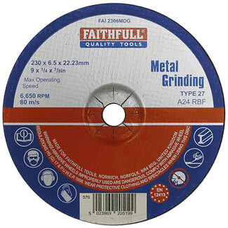 Faithfull 230mm Metal Grinding Disc Depressed Centre