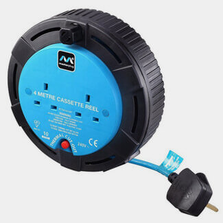 Masterplug 10Amp 2 Sockets Small Cassette Cable Reel 4m