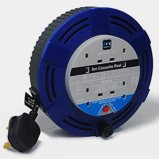 Masterplug 13Amp 4 Sockets Medium Cassette Cable Reel 8m