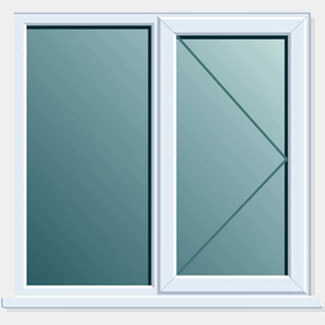 Crystal PVCU 1200mm x 1200mm Window Side + Side Hung RH Open Clear Glass