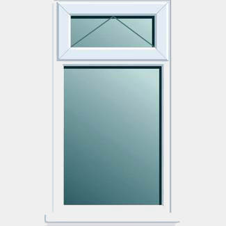 Crystal PVCU 620mm x 1050mm Window With Top Light Obscure Clear Glass