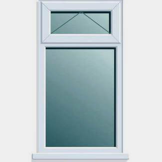 Crystal PVCU 915mm x 1050mm Window With Top Light Obscure Clear Glass